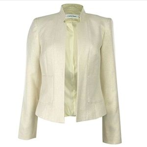 Calvin Klein Houndstooth Metallic Gold Blazer Top